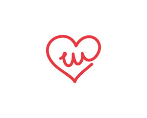 Lowercase Letter w and Heart Logo 1