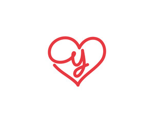 Lowercase Letter y and Heart Logo 1