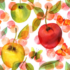 Seamless pattern with watercolor apples and butterflies
