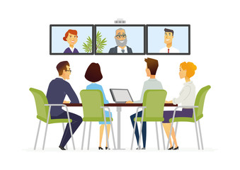 Distance Meeting - modern vector business cartoon characters illustration