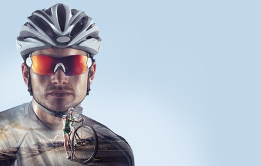 Sport backgrounds. Heroic Cyclist portrait. Mixed media. Wall mural