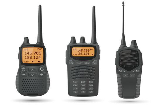 Radio transceivers. Set of 3d illustrations