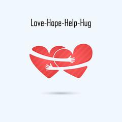 LOVE-HOPE-HELP-HUG vector logo design template.Aid & love icon.Wedding logo.Bridegroom & Bride icon idea concept.Family,man & woman,boy & girl,Boyfriend & girlfriend.