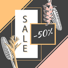 Retro sale banner template vector. Vintage floral background. Luxury design for fashion shop discount coupon, social media offer, email promotion or spa beauty flyer.