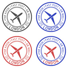 Round colored ink postal stamps with LONDON title