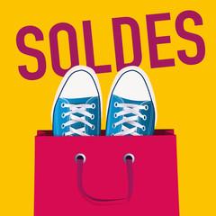 soldes - affiche - chaussure - publicité - jeune -shopping - promo - mode