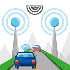 autonomous cars on the road icon over white background colorful design vector illustration