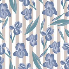 floral pattern with irises on the striped background