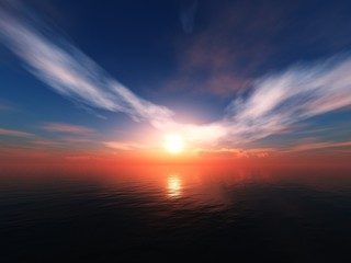 Sea sunset, sun above the water, clouds over the sea