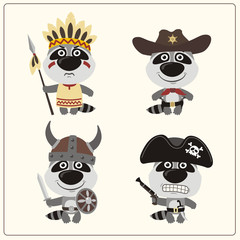 Set isolated raccoon in cartoon style for design children holiday and birthday. Funny raccoons in costume of viking, american indian, cowboy and pirate.