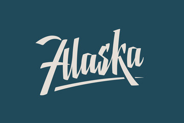 Alaska USA State Word Logo Hand Painted Brush Lettering Calligraphy Logo Template