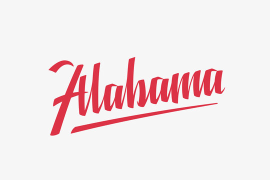 Alabama USA State Word Logo Hand Painted Brush Lettering Calligraphy Logo Template