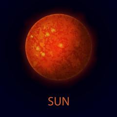 Sun. Realistic red big star. Heat source