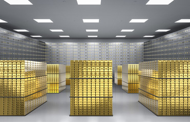 bullion and safe deposit boxes in room