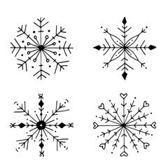 Hand drawn doodle snowflake winter set. Cute Christmas vector illustration