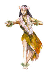 Hula Hawaii dancer girl, watercolor illustration isolated on white background.