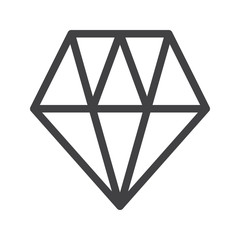 Diamond line icon, outline vector sign, linear style pictogram isolated on white. Symbol, logo illustration. Editable stroke. Pixel perfect graphics