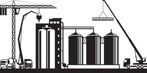 Construction of grain silo - vector illustration