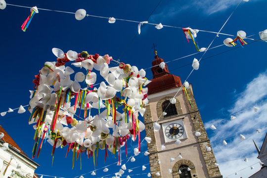 Carnival street decorations in Ptuj.