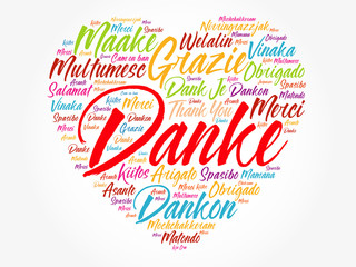 Danke (Thank You in German) Love Heart Word Cloud in different languages, concept background