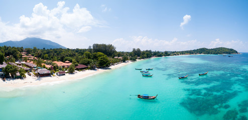 Aerial View Over Water Ko Lipe Beach Thailand