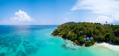 Aerial Panoramic View Tropical Island Clear Sea