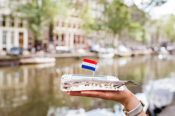Photo sur Aluminium Amsterdam Holding a fresh harring with onion and netherland flag on the water channel background in Amsterdam