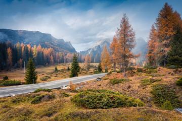 Foggy morning scene in National Park Tre Cime di Lavaredo.