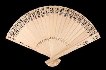 Wooden fan, isolated on black background