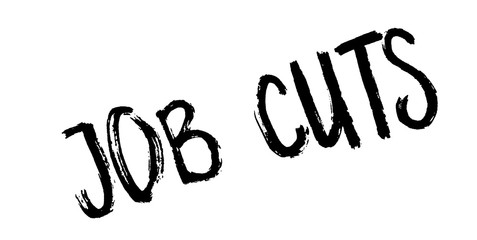 Job Cuts rubber stamp. Grunge design with dust scratches. Effects can be easily removed for a clean, crisp look. Color is easily changed.