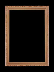 wooden picture frame, frame isolated on black background