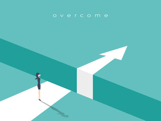 Business challenge or obstacle vector concept with businesswoman standing on the edge of gap, chasm with arrow going through. Concept of courage, bravery, risk.