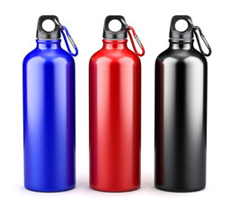 Metal water bottles on white background