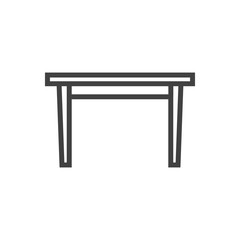 Isolated Dining Desk Outline Symbol On Clean Background. Vector Table Element In Trendy Style.
