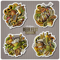 Set of Beer fest cartoon stickers