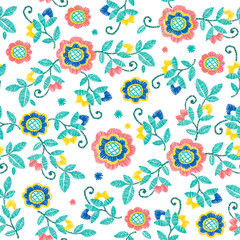 Vector seamless decorative floral embroidery pattern, ornament for textile decor. Ethnic handmade style background design.