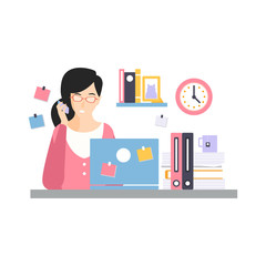 Brunette businesswoman character sitting at the computer desk with laptop and talking by phone, daily life of office employee vector Illustration