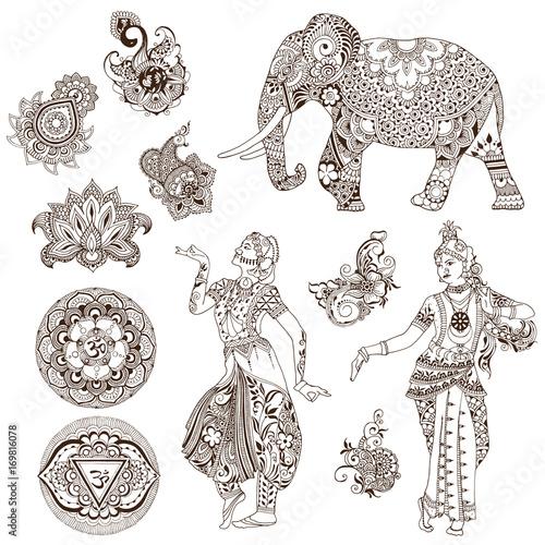 Elephant Dancers Mandalas Birds Flowers In The Mehendi Style