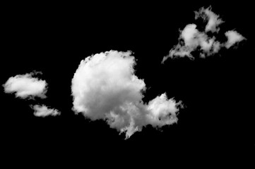 White clouds on black background / white clouds on black sky