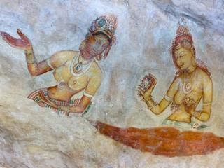 Frescoes of women at Sigiriya rock fortress Sri Lanka