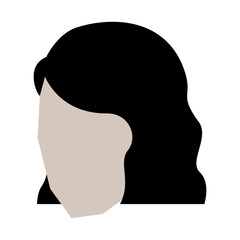 woman head faceless with short hairstyle in white background