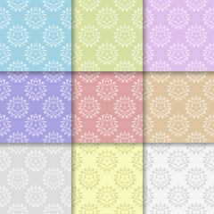 Wallpaper set of colored floral seamless patterns