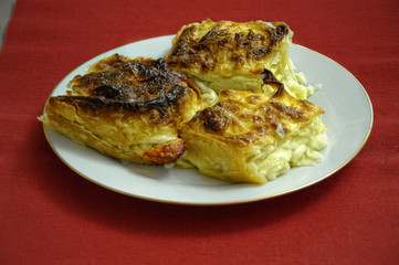 "Georgian traditional dishes ""Khachapuri achma"""