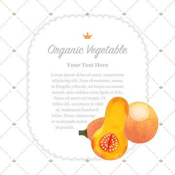 Colorful watercolor texture nature organic fruit memo frame butternut squash