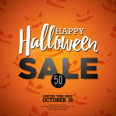 Hallowen Sale vector illustration with spider and Holiday elements on wood texture background. Design for offer, coupon, banner, voucher or promotional poster