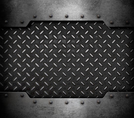 metal plate background with rivets 3d illustration