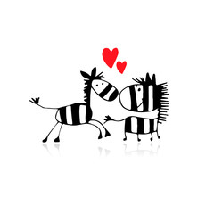 Zebra couple in love, sketch for your design