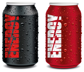 energy drink  tin can red and black with many water drops