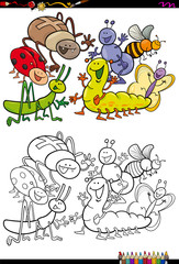 insect characters group coloring book