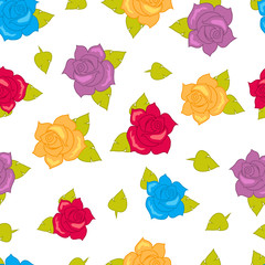 Color Roses with Green Leaves Seamless Pattern.